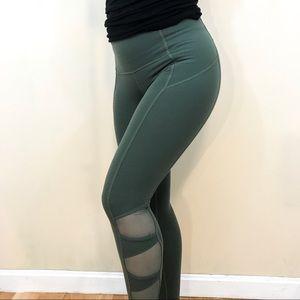 ATHLETA Green Mesh Leggings